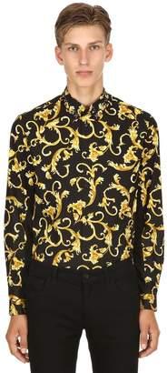 Versace Baroque Printed Poplin Shirt W/Studs
