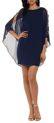 Xscape Evenings Ruffle Cape-Sleeve Mini Dress