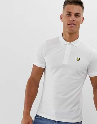 Lyle & Scott logo pique polo in white