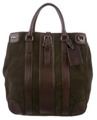 Ralph Lauren Leather-Trimmed Suede Bag