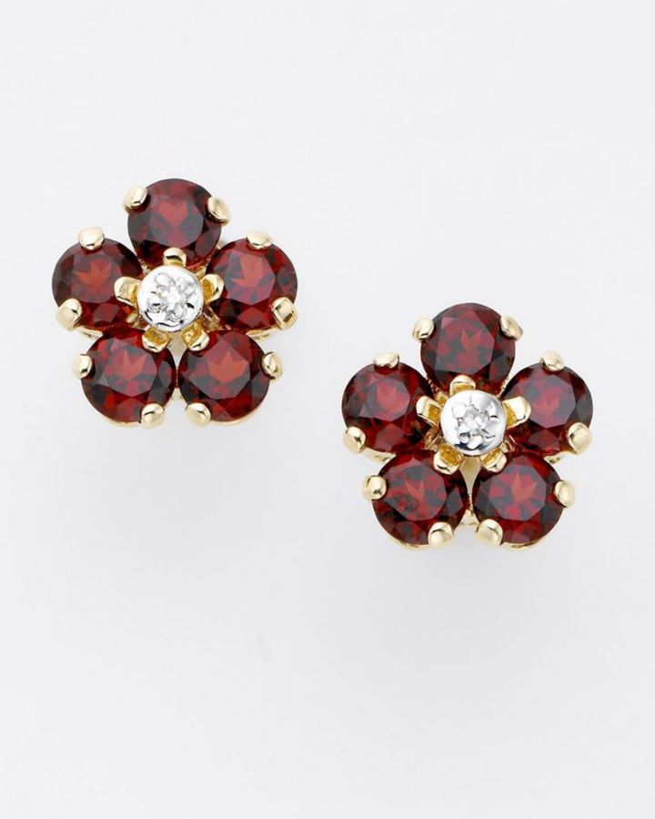 14k Gold Garnet & Diamond Flower Earrings