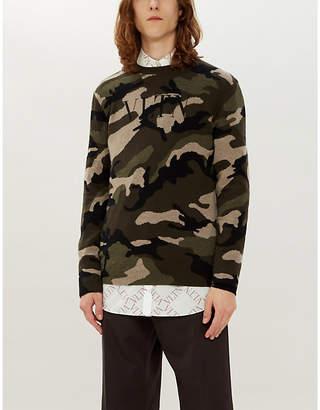 Valentino Camouflage-intarsia cashmere jumper