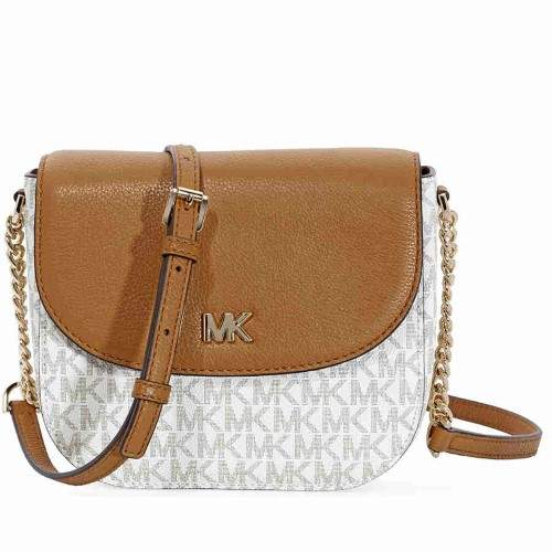 Michael Kors Mott Logo Dome Crossbody- Vanilla/ Acorn - VANILLA/ACORN - STYLE