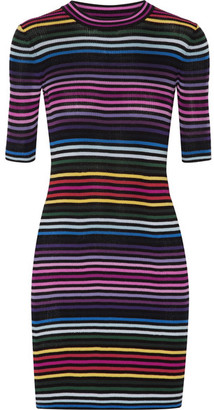 Marc Jacobs - Striped Ribbed Cotton Mini Dress - Black $375 thestylecure.com