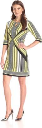 Sandra Darren Women's Elbow Sleeve Printed Knit Sheath Dress
