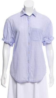 Vince Short Sleeve Button-Up Top