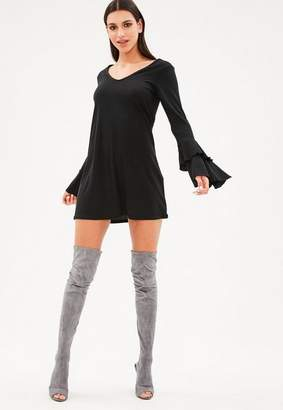Missguided Black Ribbed Frill Sleeve Swing Dress