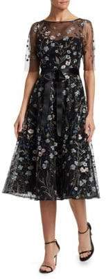 Teri Jon by Rickie Freeman Embroidered Floral Fit-&-Flare Dress