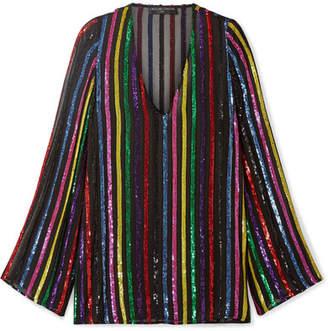 Caroline Constas Maria Striped Sequined Chiffon Mini Dress - Black