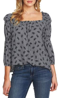 CeCe Square Neck Gingham Top