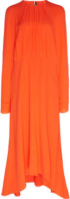 Calvin Klein Raglan Sleeve Silk Crepe De Chine Flared Dress