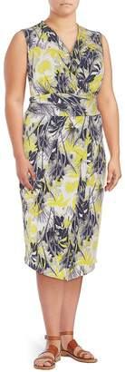 Rachel Roy Plus Women's Printed Matte Sheath Dress - Yellow, Size 1x (14-16)