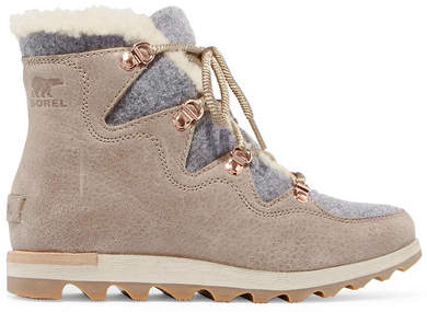 Sorel - Sneakchic Alpine Shearling-lined Felt And Suede Ankle Boots - Mushroom