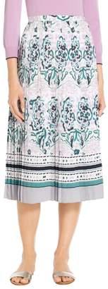 St. John Painted Floral Motif Skirt
