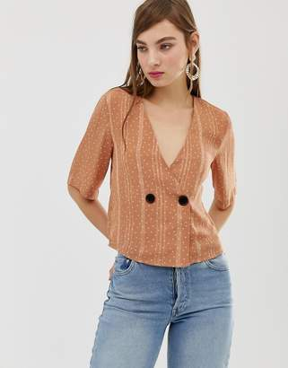 Glamorous button front cropped blouse in subtle spot