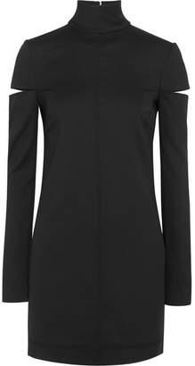 Helmut Lang Cutout Wool-blend Turtleneck Mini Dress - Black