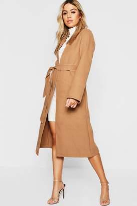 boohoo Petite Collarless Belted Wool Look Coat