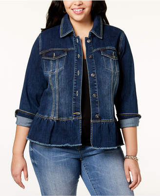 INC International Concepts I.N.C. Plus Size Peplum Denim Jacket, Created for Macy's