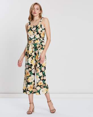 Miss Selfridge Floral Linen Pinny Jumpsuit