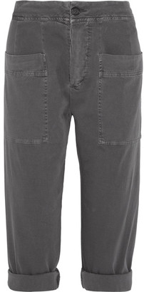 James Perse - Cropped Stretch Cotton-blend Twill Tapered Pants - Dark gray $295 thestylecure.com