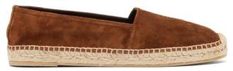 Saint Laurent Logo Embroidered Suede Espadrilles - Womens - Tan