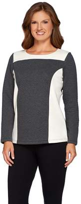 Denim & Co. Active Quilted Knit Sweatshirt with Solid Panels