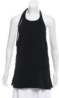 Edun Leather-Accented Halter Top w/ Tags