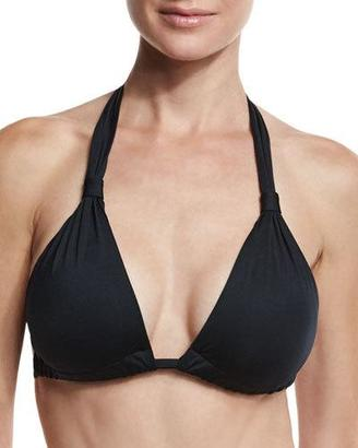 Vitamin A Neutra Solid Halter Swim Top, Black $95 thestylecure.com