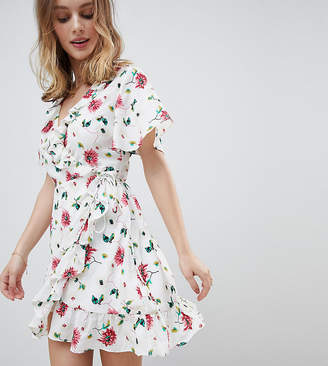 Glamorous Petite Mini Wrap Dress With Ruffle Hem And Tie Waist In Ditsy Floral