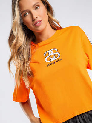 d7deadbb43c0b1 Stussy Sketch Crop Oversized T-Shirt in Orange