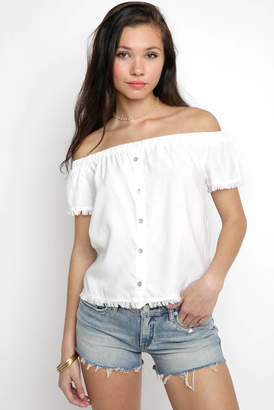 Velvet Heart Off Shoulder Fray Hem Top