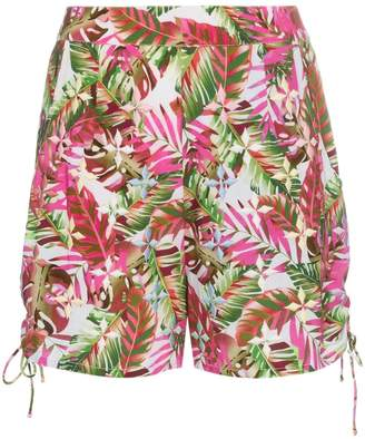 All Things Mochi tropical print side tie cotton shorts