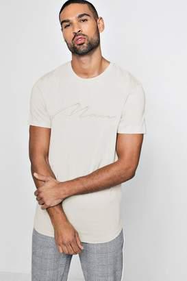 boohoo Curve Hem Longline MAN Embroidered T-Shirt
