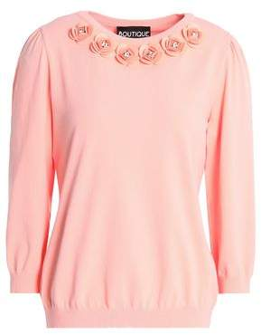 Moschino Crystal-Embellished Floral-Appliquéd Knitted Sweater