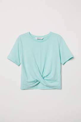 H&M Tie-hem T-shirt - Turquoise