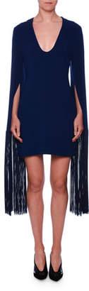 Stella McCartney Fringe-Cuff V-Neck Mini Dress
