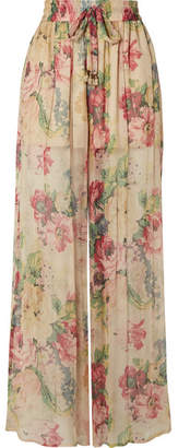 Zimmermann Melody Floral-print Silk-crepon Wide-leg Pants - Beige