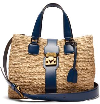 84af2f37d6 Mark Cross Riviera Medium Raffia And Leather Tote - Womens - Navy Multi