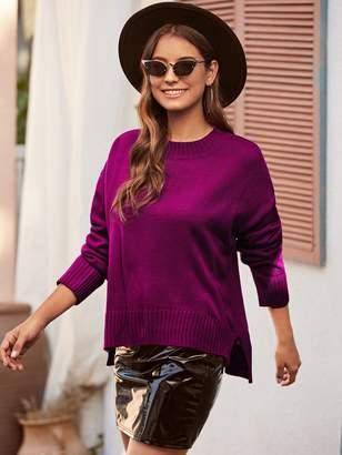 Shein Drop Shoulder Split High-low Hem Sweater