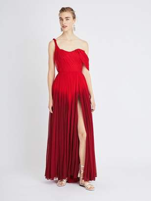 c7815956d5 Oscar de la Renta One-Shoulder Dip-Dyed Silk-Chiffon Gown