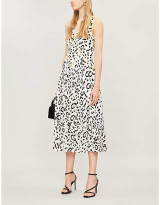 Self-Portrait Self Portrait Leopard-print sleeveless crepe dress