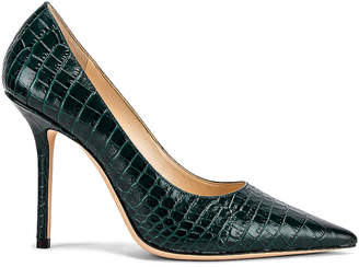 Jimmy Choo Croc Embossed Love 100 Heel in Dark Green | FWRD