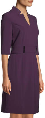 Tahari ASL Half-Sleeve Belted Stretch-Crepe Dress