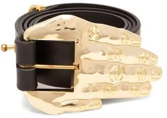 Charles Jeffrey Loverboy - Hand Buckle Leather Belt - Womens - Black