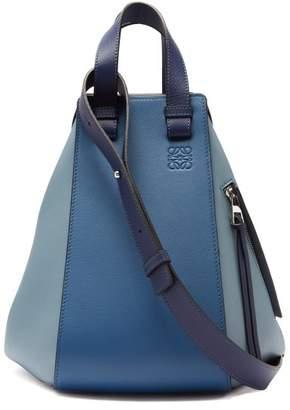Loewe Hammock Medium Leather Tote - Womens - Blue Multi