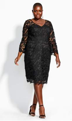 City Chic Citychic Lace Catch Dress - black