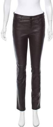 Vince Leather Mid-Rise Pants