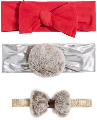 First Impressions Baby Girls 3-Pk. Faux-Fur & Bows Headbands