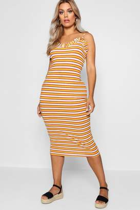 boohoo Plus Ribbed Frill Strappy Midi Sun Dress