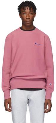 Champion Reverse Weave Pink Small Script Sweatshirt